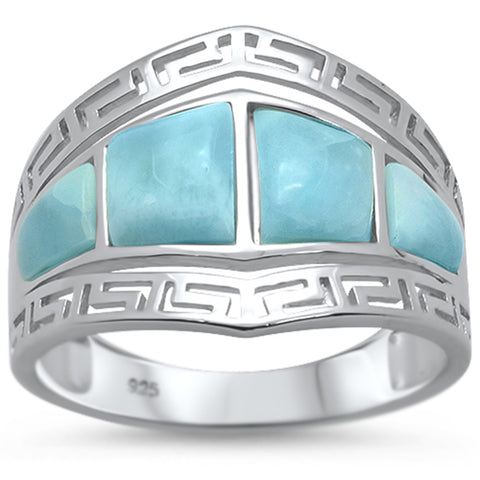 Natural Larimar Greek Key Design .925 Sterling Silver Ring Sizes 6-8