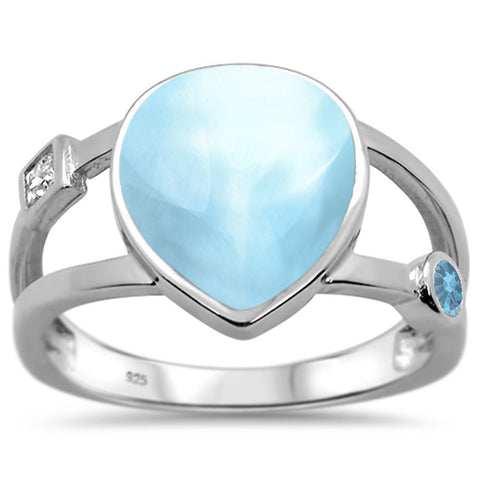 Natural Larimar Pear Shape & Aquamarine .925 Sterling Silver Ring Sizes 5-10