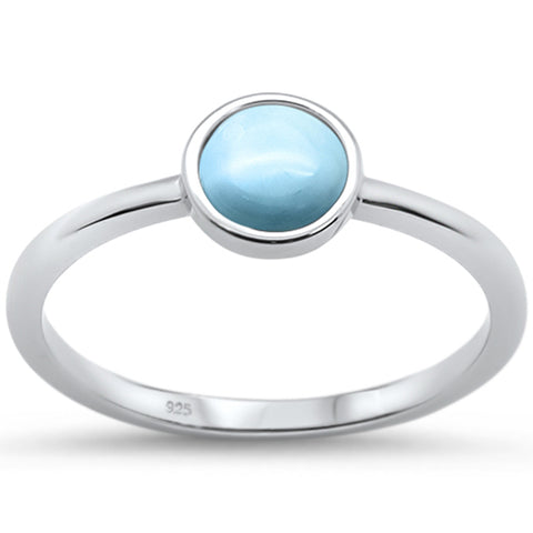 Natural Larimar Round .925 Sterling Silver Ring Sizes 5-10