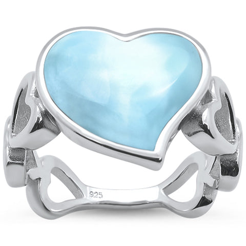 Natural Larimar Heart Shape Band .925 Sterling Silver Ring Sizes 5-10