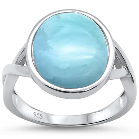 Natural Larimar Oval .925 Sterling Silver Ring Sizes 5-10