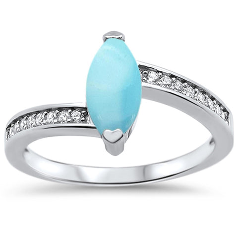 Natural Larimar & CZ .925 Sterling Silver Ring Sizes 5-10