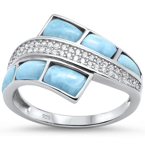 Natural Larimar & Cz Fashion .925 Sterling Silver Ring Sizes 5-10