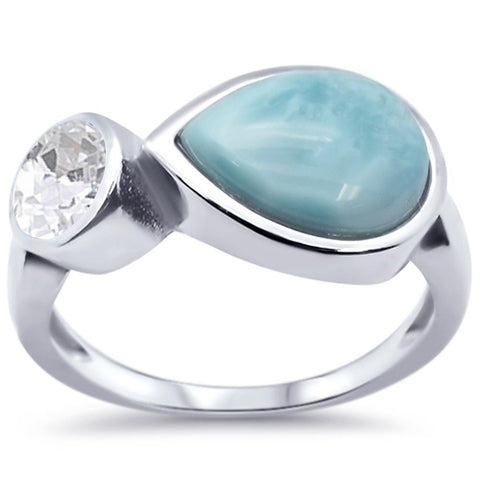 Pear Natural Larimar & Cubic-zirconia .925 Sterling Silver Ring Sizes 5-10