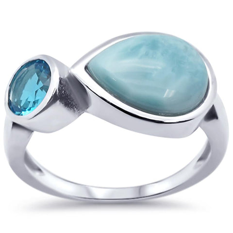 Pear Natural Larimar & Blue Topaz .925 Sterling Silver Ring Sizes 5-10