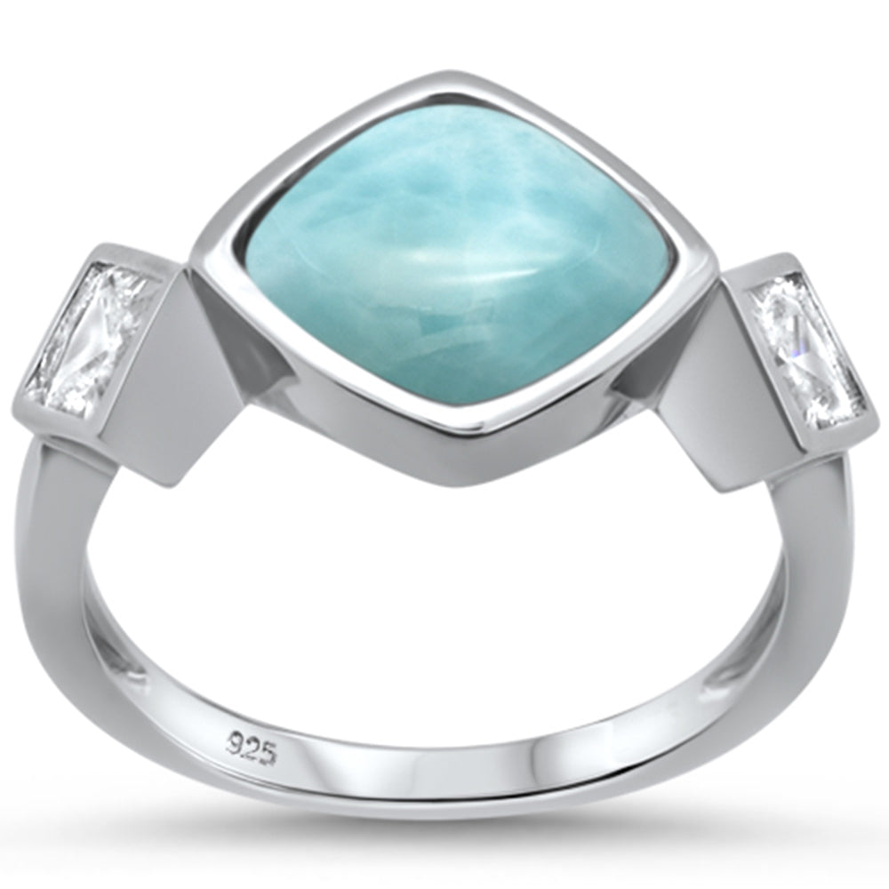Natural Larimar & Cubic Zirconia .925 Sterling Silver Ring Sizes 6-8