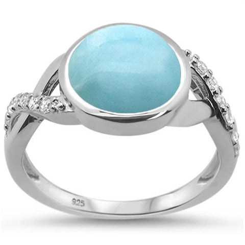 Round Natural Larimar & Cubic Zirconia .925 Sterling Silver Ring Sizes 6-8