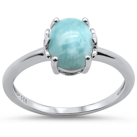 Oval Natural Larimar .925 Sterling Silver Ring Sizes 6-8