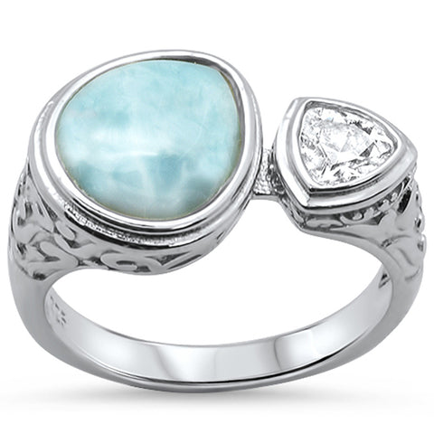 Pear Shape Natural Larimar & Cubic Zirconia .925 Sterling Silver Ring Sizes 5-10