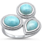 Natural Larimar .925 Sterling Silver Ring Sizes 6-8