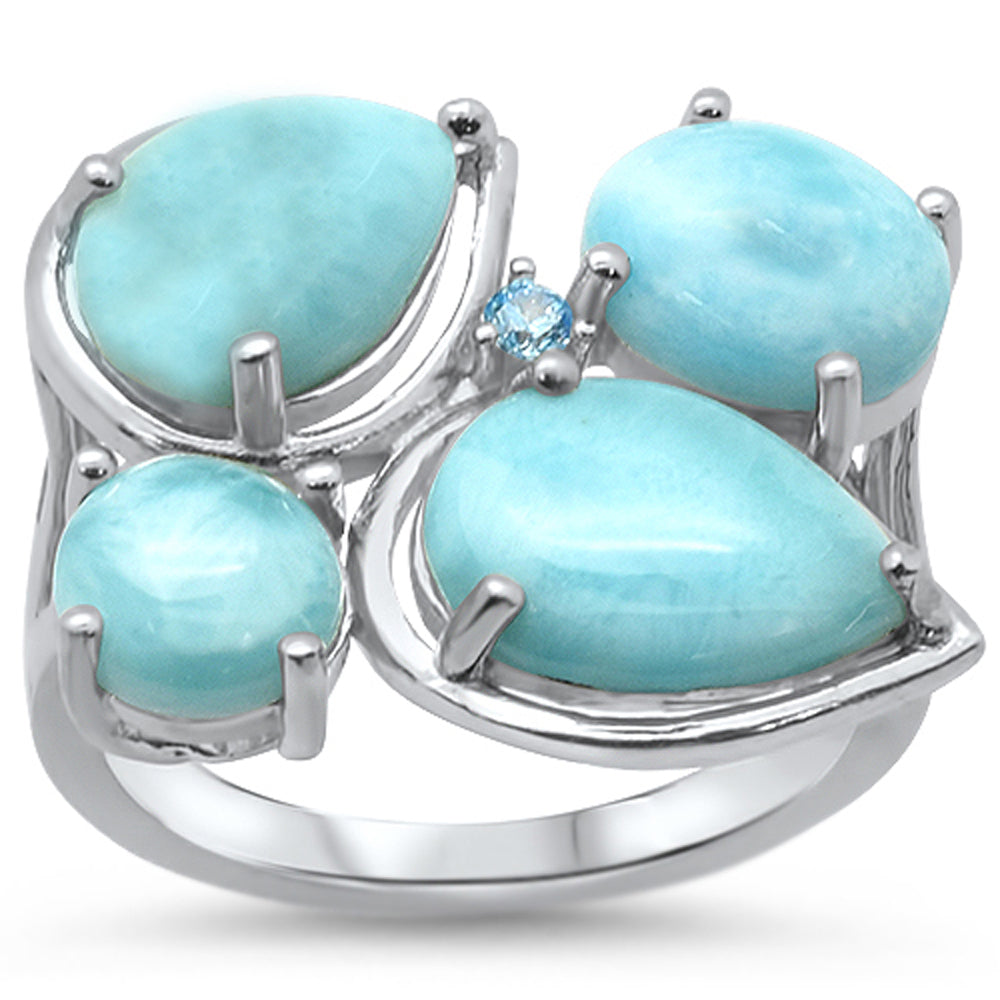 Natural Larimar & Blue Topaz Cubic Zirconia .925 Sterling Silver Ring Sizes 5-10