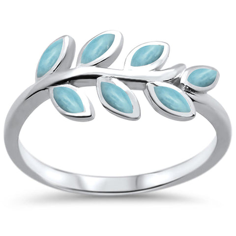 Natural Larimar Olive Branch Leaf Design .925 Sterling Silver Ring Sizes 6-8