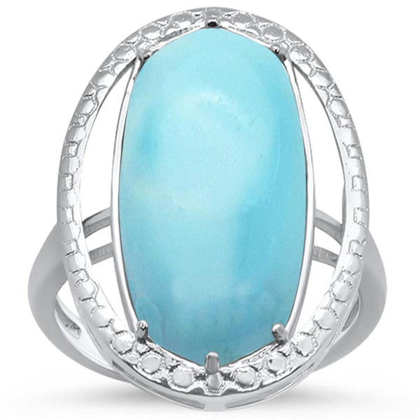 Natural Larimar Oval .925 Sterling Silver Ring Sizes 6-9