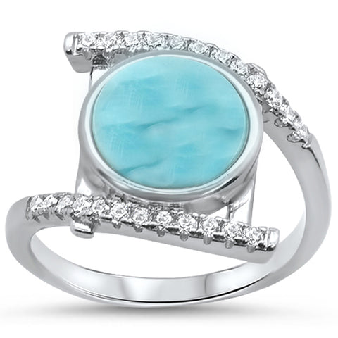 Natural Larimar .925 Sterling Silver Ring Sizes 5-10