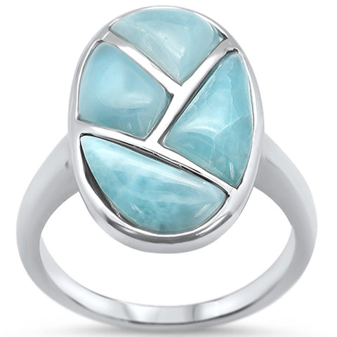 Natural Larimar .925 Sterling Silver Ring Sizes 6-10