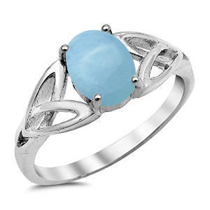 Natural Oval Larimar .925 Sterling Silver Ring Sizes 5-10