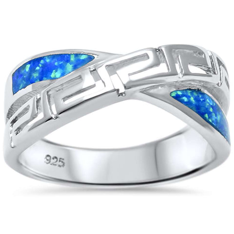 Lab Created Blue Opal Filigree Infinity .925 Sterling Silver Ring Sizes 5-10