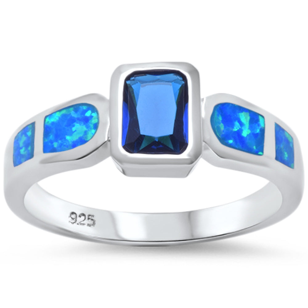 <span>CLOSEOUT!</span> Blue Sapphire & Blue Opal Fashion .925 Sterling Silver Ring Sizes 5-10