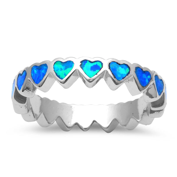 Blue Opal Heart Band .925 Sterling Silver Rings Sizes 4-11