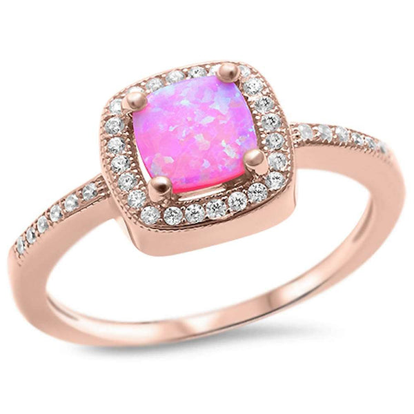 Rose Gold Plated Pink Opal & Cubic Zirconia .925 Sterling Silver Ring Sizes 5-10