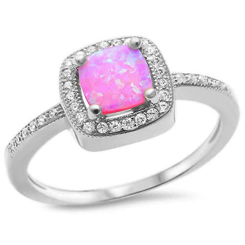 Pink Opal & Cubic Zirconia .925 Sterling Silver Ring Sizes 5-10