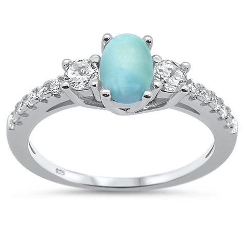 Natural Oval Larimar & Cubic Zirconia .925 Sterling Silver Ring Sizes 6-8