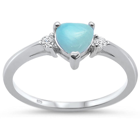 Natural Larimar Heart & Cz .925 Sterling Silver Ring Sizes 3-10