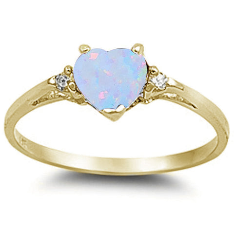 Yellow Gold Plated White Opal & Cubic Zirconia Heart .925 Sterling Silver Ring Sizes 6-8