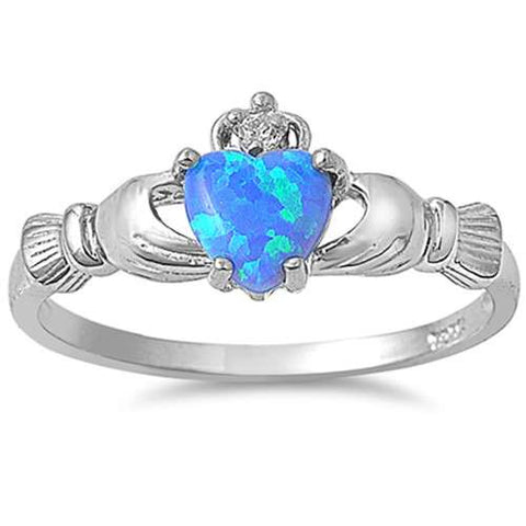 Lab Created Blue Opal Claddagh Ring .925 Sterling Silver Sizes 4-12