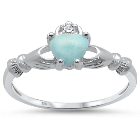 Natural Larimar Claddagh .925 Sterling Silver Ring Sizes 6-9