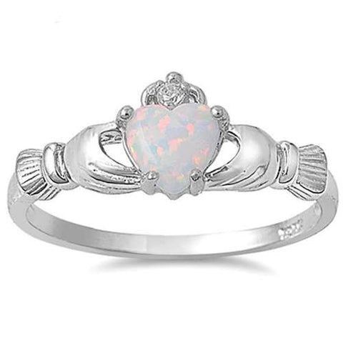 IRISH CLADDAGH White Opal Ring Sizes 3-11