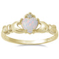 Yellow Gold Plated White Opal Claddagh .925 Sterling Silver Ring Sizes 6-8