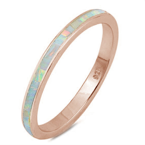 Rose Gold Plated White Opal Band .925 Sterling Silver Ring Sizes 4-11