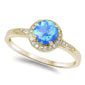 Blue Fire Opal & Cubic Zirconia .925 Sterling Silver Ring Sizes 4-10