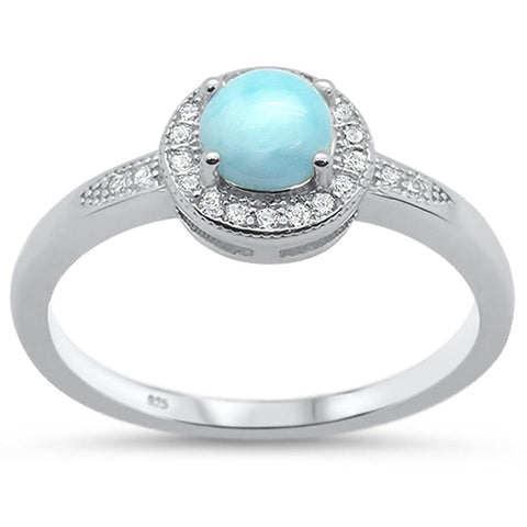 Natural Round Larimar & Cz  .925 Sterling Silver Ring Sizes 5-10