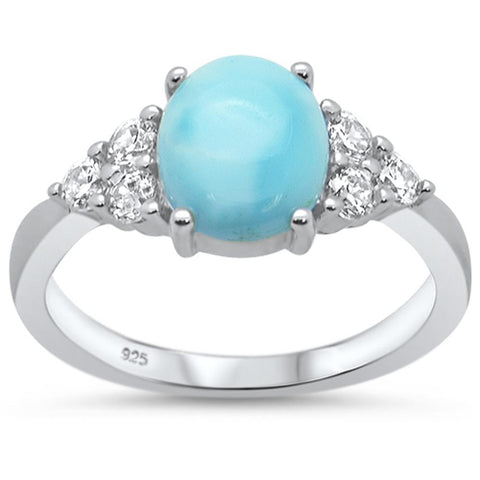 Round Oval Larimar & Cubic Zirconia .925 Sterling Silver Ring Sizes 5-10