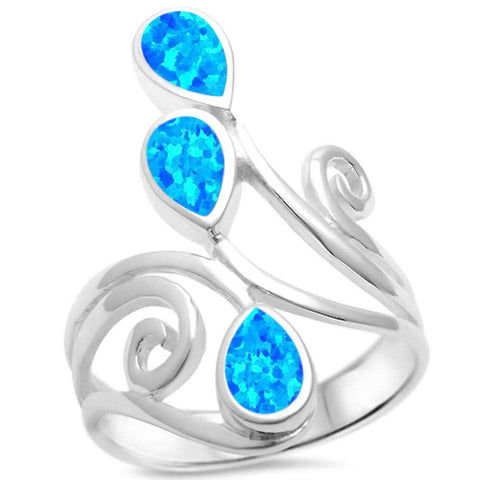 Fire Blue Opal Whale Tail .925 Sterling Silver Ring Sizes 5-10