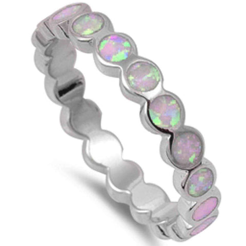 Round Pink Opal Eternity  .925 Sterling Silver Ring Sizes 4-10