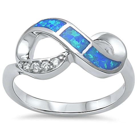 New Design Blue Opal & Cubic Zirconia Infinity .925 Sterling Silver Ring Sizes 5-10