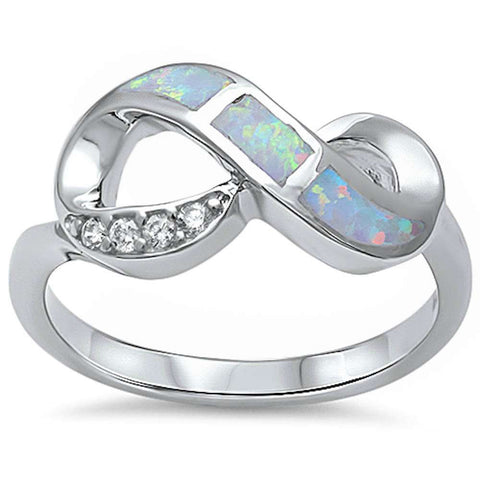 New Design White Opal & Cubic Zirconia Infinity .925 Sterling Silver Ring Sizes 5-10