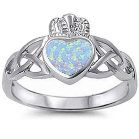 White Opal Irish Claddagh Celtic Style .925 Sterling Silver Ring Sizes 4-11