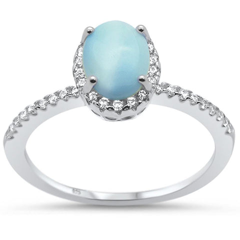 Natural Oval Larimar & Cubic Zirconia Engagement .925 Sterling Silver Ring Sizes 6-10