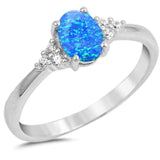 Blue Opal Oval & Round Cubic Zirconia .925 Sterling Silver Ring  Sizes 7-10