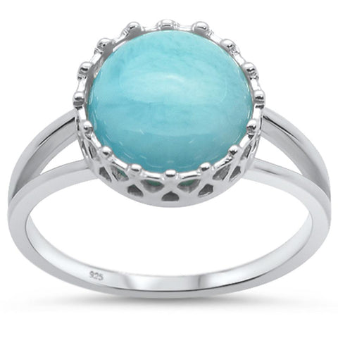 Natural Larimar Crown Design .925 Sterling Silver Ring Sizes 6-9