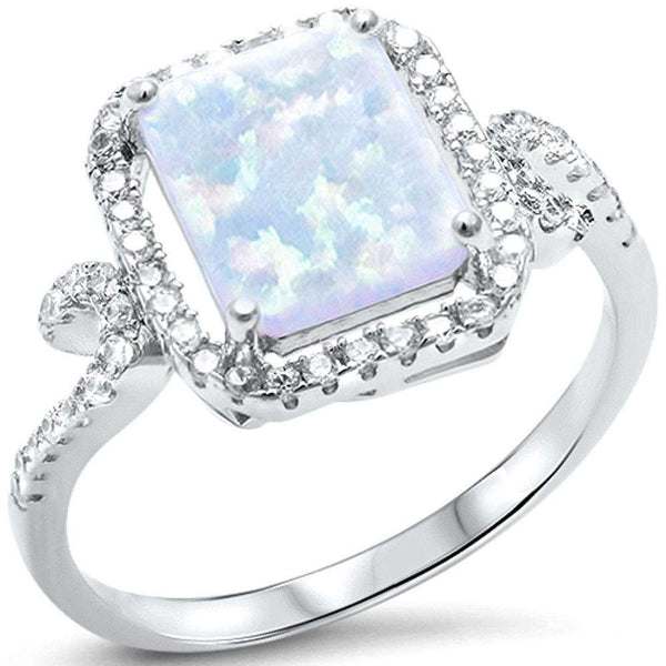 Radiant Cut White Opal & Cubic Zirconia .925 Sterling Silver Ring Sizes 5-10