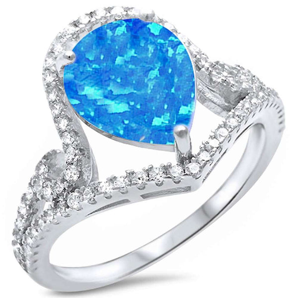 Pear Shape Blue Opal & Cubic Zirconia .925 Sterling Silver Ring Sizes 5-10