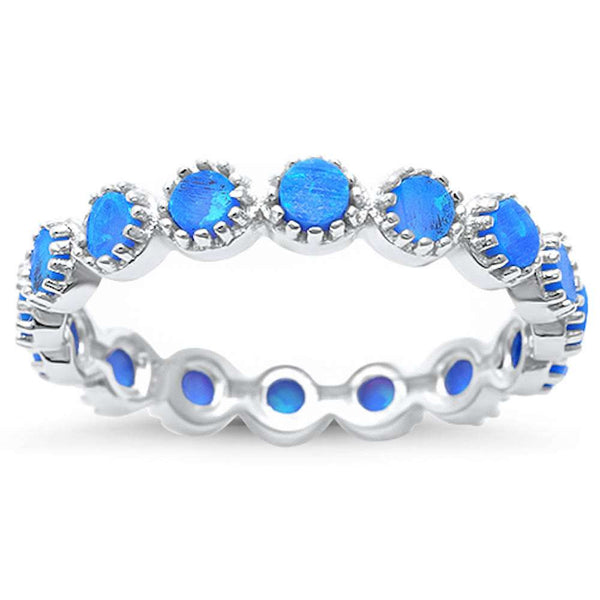 Round Blue Opal Eternity  .925 Sterling Silver Ring Sizes 6-9