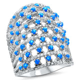 New Beautiful Blue Opal & Cubic Zirconia  .925 Sterling Silver Ring Sizes 5-10