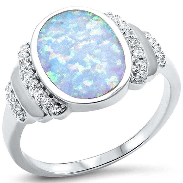 White Opal & Cubic Zirconia .925 Sterling Silver Ring Sizes 5-10