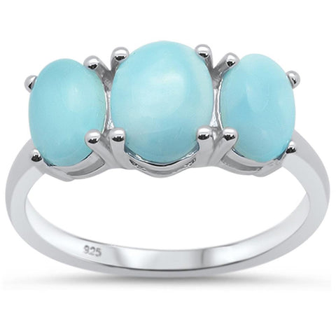 Oval Three Stone Natural Larimar .925 Sterling Silver Ring Sizes 6-9